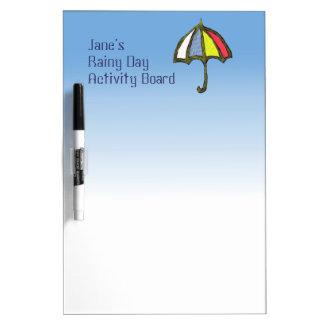 Tablero de la actividad del día lluvioso de Jane c Pizarras