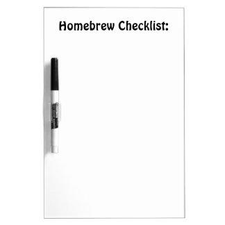 Tablero de la lista de control del brew casero pizarras blancas de calidad