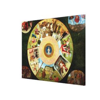 Tablero de la mesa de los siete pecados mortales lona estirada galerías