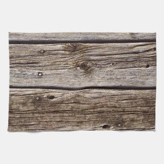 Tablero de madera rústico de la foto, resistido re toallas de mano