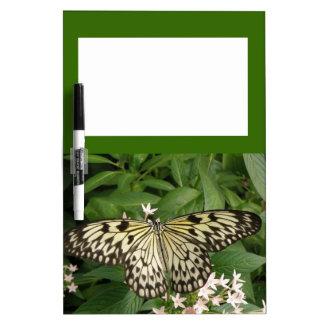 Tablero de papel de la nota de la mariposa de la c tablero blanco