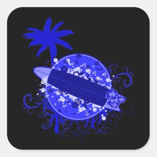 Tablero de resaca azul pegatina cuadrada