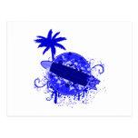 Tablero de resaca azul postales