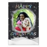 Tablero de tiza de las felices Navidad con el reno Tarjetón