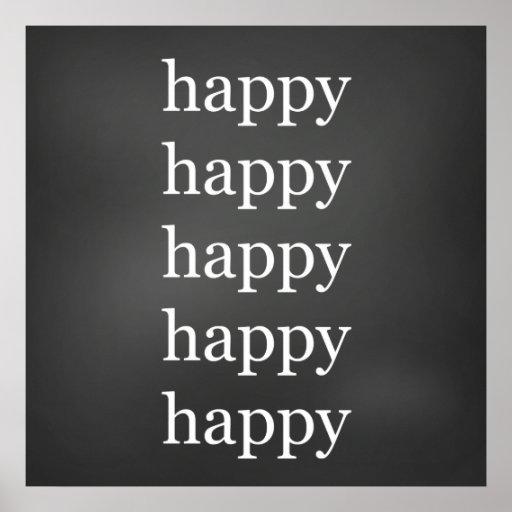 Tablero de tiza feliz póster