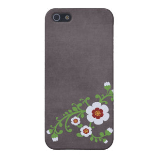 Tablero de tiza floral retro de la flor del vintag iPhone 5 carcasas
