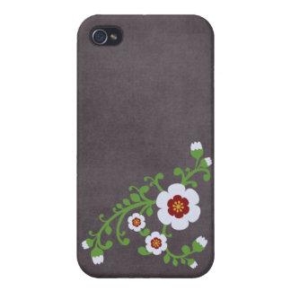 Tablero de tiza floral retro de la flor del vintag iPhone 4 fundas