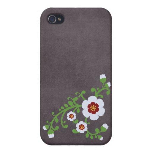 Tablero de tiza floral retro de la flor del vintag iPhone 4/4S funda