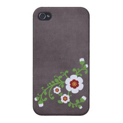 Tablero de tiza floral retro de la flor del vintag iPhone 4/4S carcasas