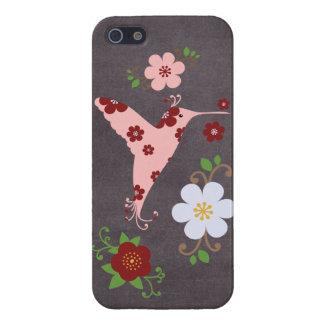 Tablero de tiza floral retro del pájaro del vintag iPhone 5 carcasas