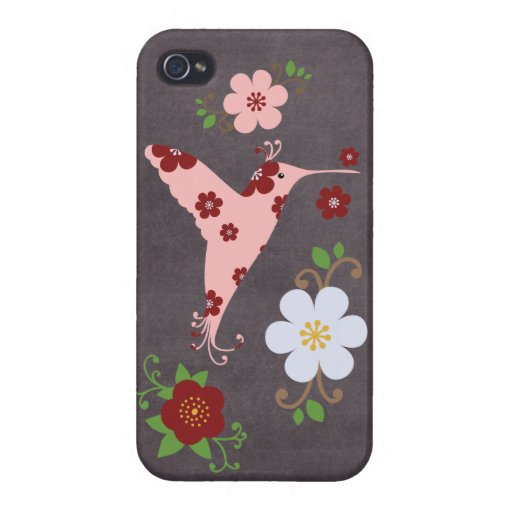 Tablero de tiza floral retro del pájaro del vintag iPhone 4 cobertura