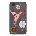 Tablero de tiza floral retro del pájaro del vintag iPhone 4 carcasa