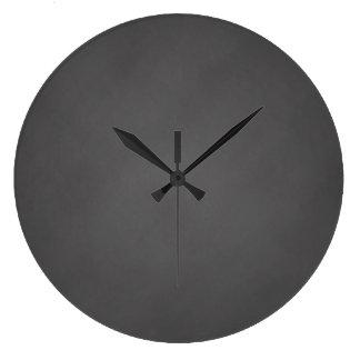 Tablero de tiza gris del negro del fondo de la reloj redondo grande