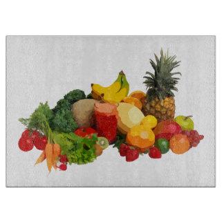 Tablero del corte del vidrio de las frutas y tabla para cortar