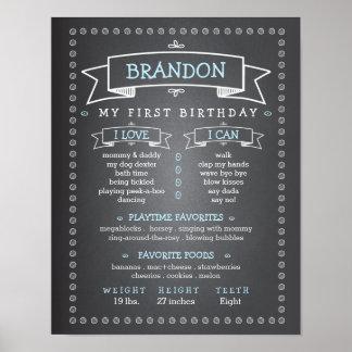 Tablero del jalón del cumpleaños del bebé de la póster