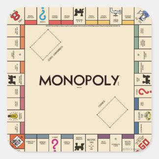 Tablero del juego del monopolio del vintage pegatina cuadrada