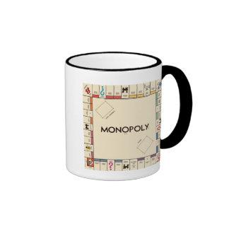 Tablero del juego del monopolio del vintage taza a dos colores