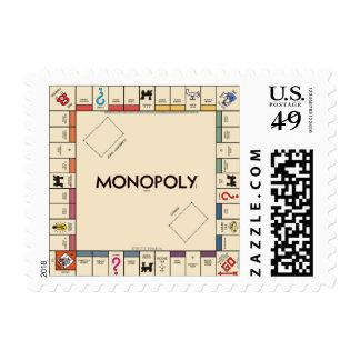 Tablero del juego del monopolio del vintage timbre postal