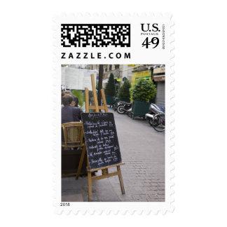 Tablero del menú de bistros sello postal