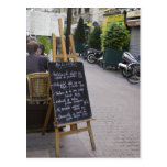 Tablero del menú de bistros tarjetas postales