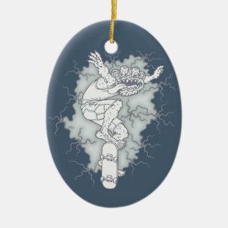 Tablero del monstruo adorno navideño ovalado de cerámica