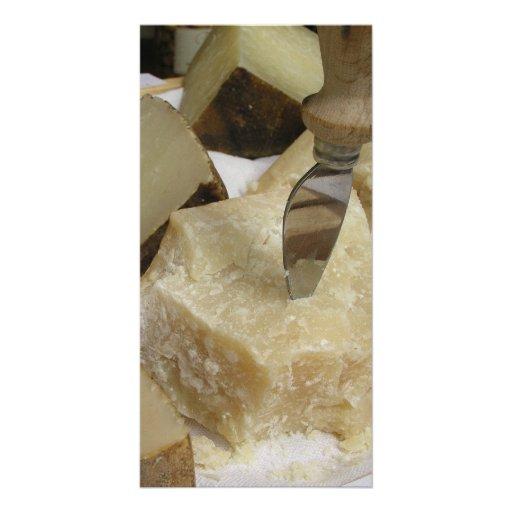 Tablero del queso con parmesano tarjeta fotográfica personalizada
