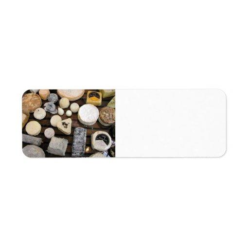 Tablero del queso etiqueta de remitente