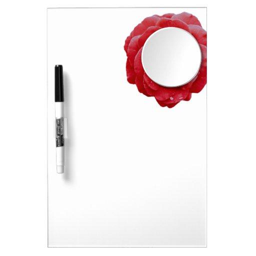 Tablero del Seco-Borrado - espejo enmarcado rojo d Pizarras Blancas De Calidad