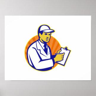 Tablero del trabajador del inspector del técnico r impresiones