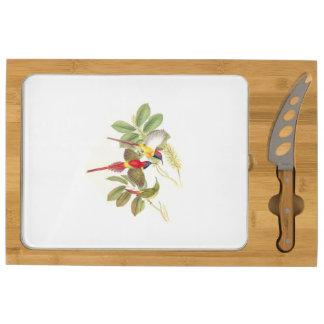 Tablero floral del queso de los pájaros de Sunbird