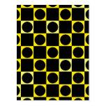 Tablero negro y amarillo postal