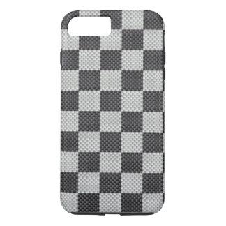 Tablero negro y gris de la fibra de carbono funda iPhone 7 plus