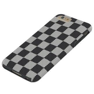 Tablero negro y gris de la fibra de carbono funda resistente iPhone 6 plus