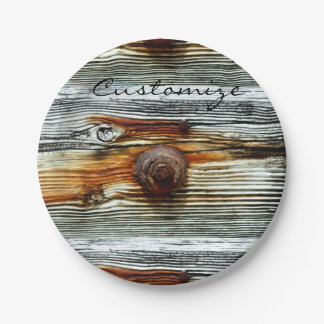 tablero oxidado del gris del driftwood platos de papel
