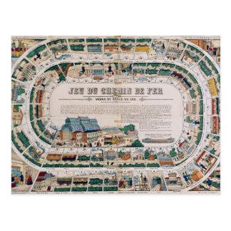 Tablero para un juego ferroviario, 1850 postales