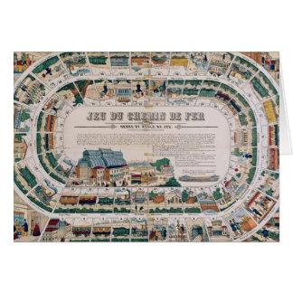 Tablero para un juego ferroviario, 1850 tarjeta de felicitación