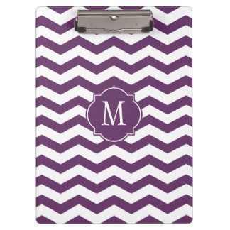 Tablero púrpura y blanco del monograma de Chevron