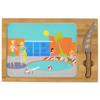 Tablero retro del queso de la fiesta en la piscina