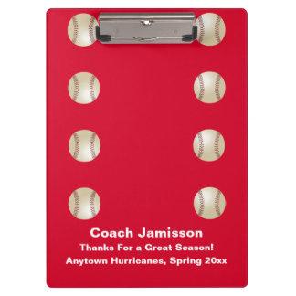 Tablero, rojo, para el entrenador de béisbol