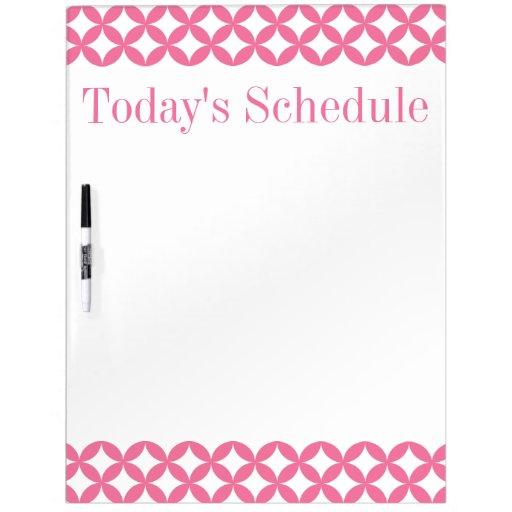 Tablero rosado y blanco del Scheduling de Homescho Pizarra