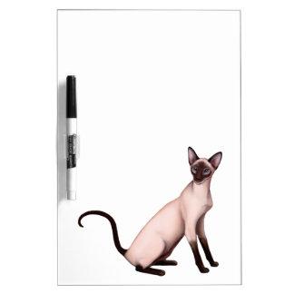 Tablero seco amistoso del borrado del gato siamés pizarra