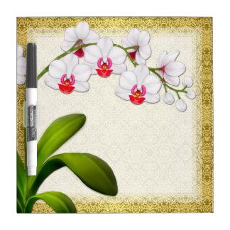 Tablero seco blanco del borrado de la orquídea de  pizarras blancas