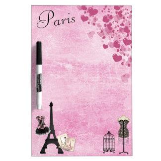 Tablero seco del borrado de la moda rosada femenin pizarras