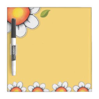 Tablero seco del borrado del amarillo de la alegrí tablero blanco