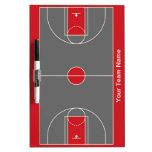 Tablero seco del borrado del baloncesto gris rojo  tablero blanco
