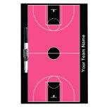 Tablero seco del borrado del baloncesto rosado neg