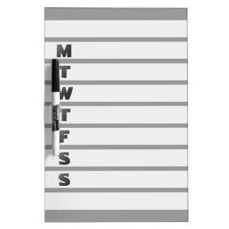 Tablero seco del borrado del calendario semanal pizarras blancas