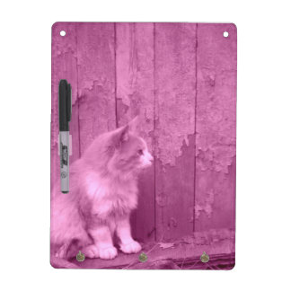 Tablero seco del borrado del gato rosado de Sáhara Pizarra Blanca