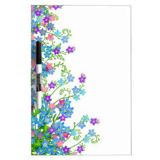 Tablero seco del borrado del jardín floral de las  pizarra blanca