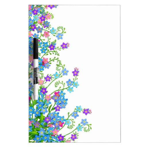 Tablero seco del borrado del jardín floral de las  pizarras blancas